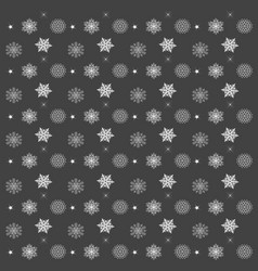 Pattern with snowflakes gray background - vector