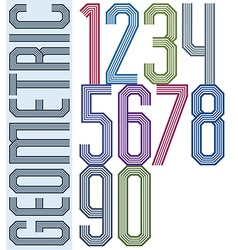 Retro colorful geometric numbers with parallel vector