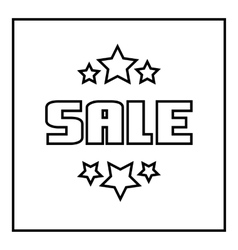 Sale emblem with stars icon outline style vector