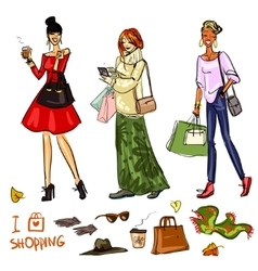 Set of pretty fashionable women vector image vector image