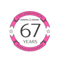 Sixty seven years anniversary celebration logo vector