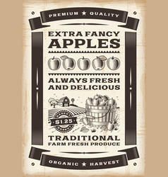 Vintage apple harvest poster vector
