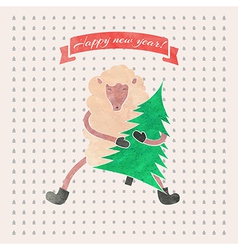 Watercolor new year and christmas print funny vector