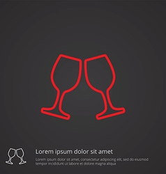 Wineglasses outline symbol red on dark background vector