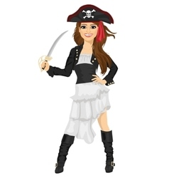 Young woman in pirate costume holding sword vector