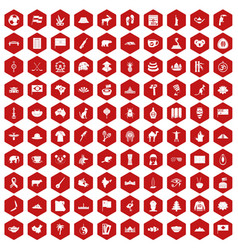 100 landmarks icons hexagon red vector image vector image