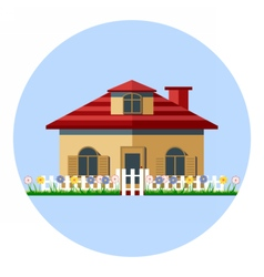 Digital house icon with garden vector image