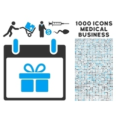 Gift box calendar day icon with 1000 medical vector