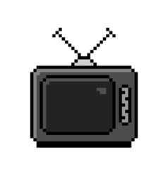Pixelated old tv with antenna - isolated vector