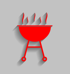 Barbecue simple sign  red icon with soft vector