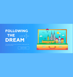 Following the dream - line travel web page vector