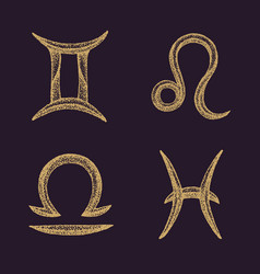 hand drawn zodiac signs set vector image