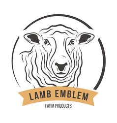 Lamb head silhouette emblem label vector