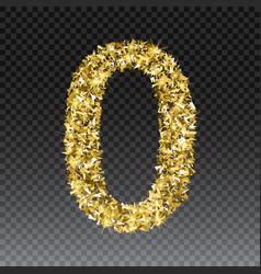 Gold glittering number zero shining golden vector