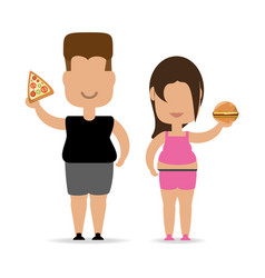 People with hamburger fast food in the hand vector