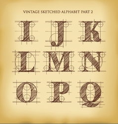 Vintage sketched alphabet set 2 vector