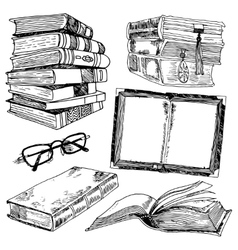 Set of books sketch vector