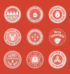Christmas decoration set of design elements labels vector