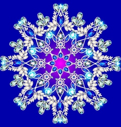 snowflake made of precious stones on a blu vector image
