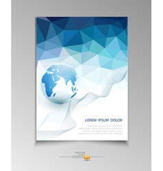 Brochure for business with blue triangles vector