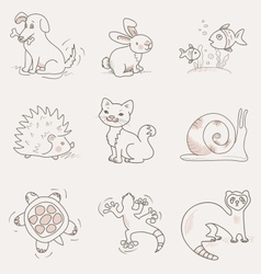 Pets set cat dog rabbit snail turtle ferret vector