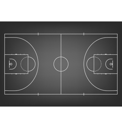 Black basketball court - top view vector