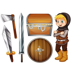 Knight with weapons and treasure vector image