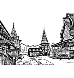 Wooden architecture vector