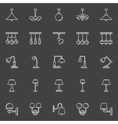 Lamp outline icons vector