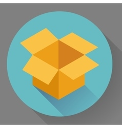 Icon of empty opened cardboard box flat style vector