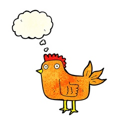 Cartoon hen with thought bubble vector