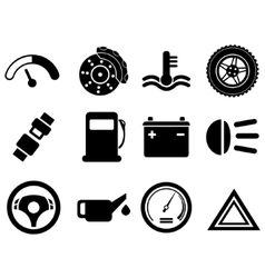 Car interface icon set vector