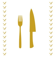 Yellow chef knife and fork crossed in vector