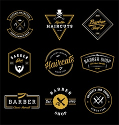 Vintage barber shop badges vector