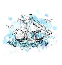 Sailing vessel and blue watercolor blots vector