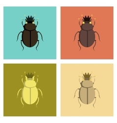 Assembly flat bug scarab vector