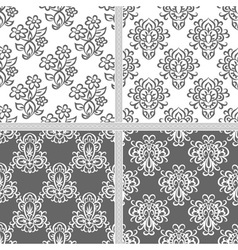 Black and white seamless pattern set vector image