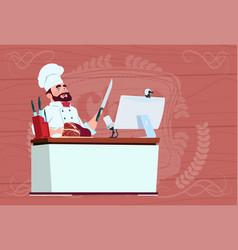 chef cook making video blog cookong at computer vector image vector image