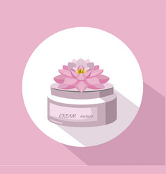 Cosmetics waterlily flower cream package vector
