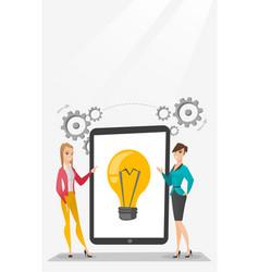 Creative businesswomen discussing business ideas vector