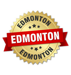 Edmonton round golden badge with red ribbon vector