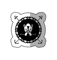 Emblem cat hunter hipster city icon vector