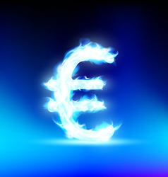 Euro sign burning blue flame vector image