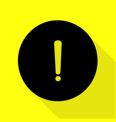 Exclamation mark sign black icon with flat style vector