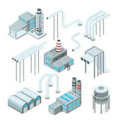 Factory pipe and set of industrial buildings vector