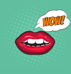 female lips in pop art style with bubble vector image