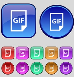 File GIF icon sign A set of twelve vintage buttons vector image vector image