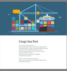 flyer with cargo port vector image vector image