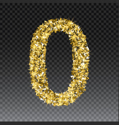 gold glittering number zero shining golden vector image