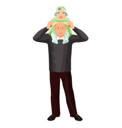 Grandfather with little girl on shoulders vector
